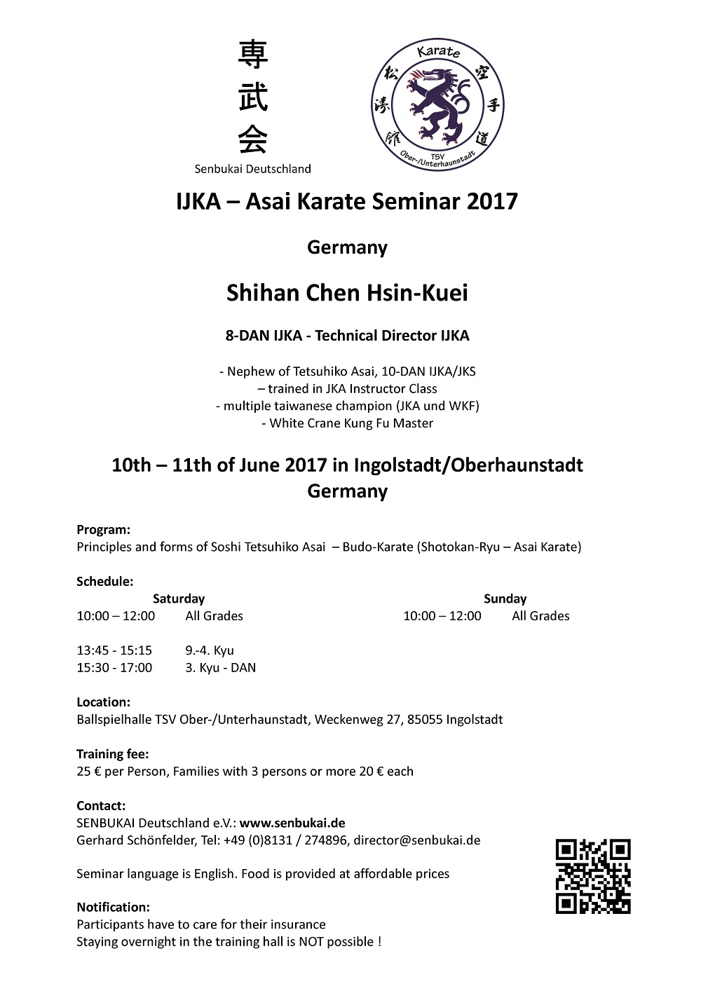 IJKA-Asai Karate Seminar 2017 Germany